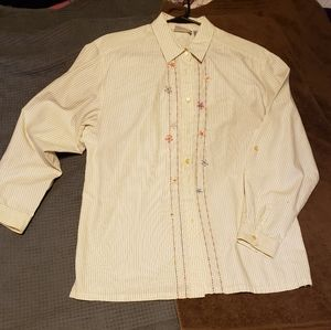 Napa Valley- Embroidered long sleeved Blouse Lrg